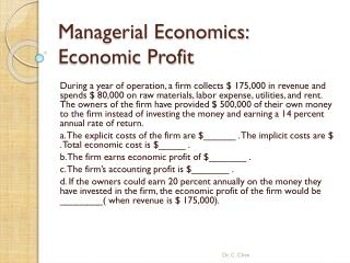 Managerial Economics: Economic Profit