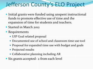 Jefferson County's ELO Project
