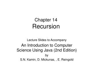 Chapter 14 Recursion