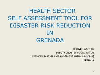 HEALTH SECTOR  SELF ASSESSMENT TOOL FOR  DISASTER RISK REDUCTION  IN  GRENADA TERENCE WALTERS