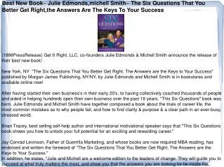 Best New Book~ Julie Edmonds,michell Smith~ The Six Question