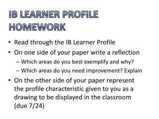 IB Learner Profile Homework
