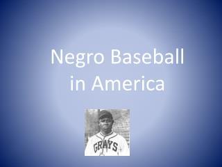 Negro Baseball in America