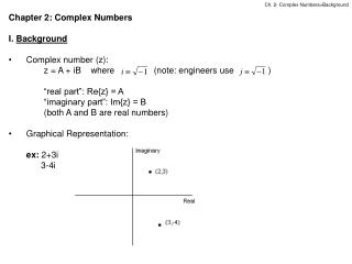 Chapter 2: Complex Numbers I.  Background Complex number (z):