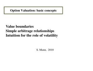 Option Valuation: basic concepts