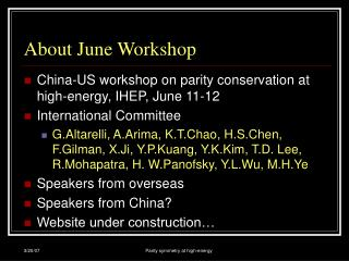 About June Workshop