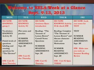 Welcome to RELA-Week at a Glance  Sept. 9-13, 2013
