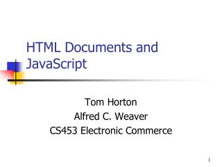 HTML Documents and JavaScript