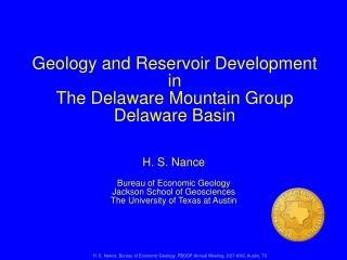 H. S. Nance, Bureau of Economic Geology, PBGSP Annual Meeting, 2/27-8/06, Austin, TX