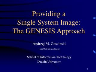 Providing a Single System Image: The GENESIS Approach