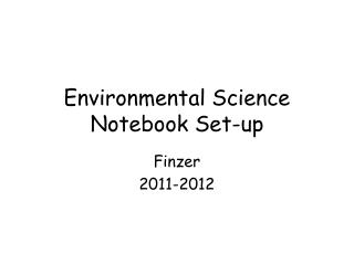 Environmental Science Notebook Set-up