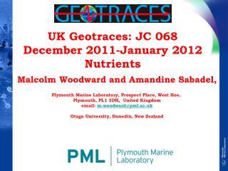 UK Geotraces: JC 068 December 2011-January 2012 Nutrients