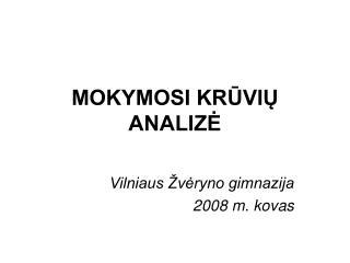 MOKYMOSI KRŪVIŲ ANALIZĖ