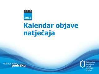 Kalendar objave natječaja