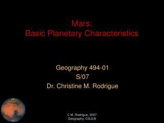 Mars:  Basic Planetary Characteristics
