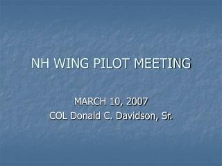 NH WING PILOT MEETING