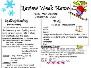 Review Week Memo From:  Mrs.  Udchitz January 23, 2012