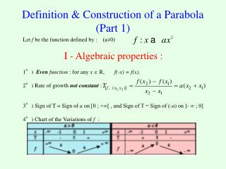 Definition & Construction of a Parabola (Part 1)