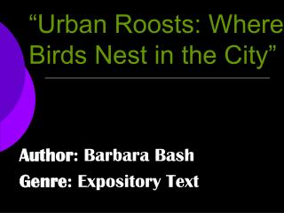"""Urban Roosts: Where Birds Nest in the City"""