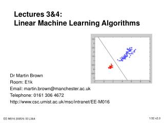 Lectures 34: Linear Machine Learning Algorithms