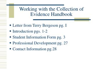 Working with the Collection of Evidence Handbook