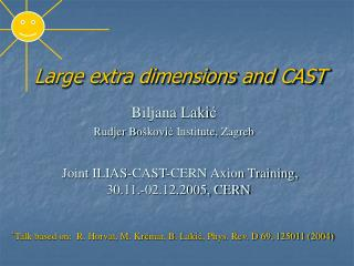 Large extra dimensions and  CAST
