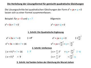 Die  Herleitung  der Lösungsformel für gemischt quadratische  Gleichungen