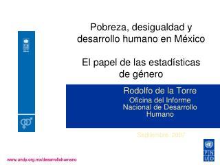 Pobreza, desigualdad y desarrollo humano en México El papel de las estadísticas de género