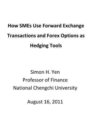 How SMEs Use Forward Exchange Transactions and Forex Options as Hedging Tools