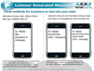 Listener Generated Messages