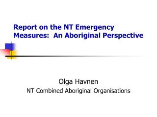 Report on the NT Emergency Measures:  An Aboriginal Perspective