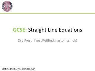 GCSE:  Straight Line Equations