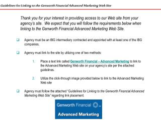 Guidelines for Linking to the Genworth Financial Advanced Marketing Web Site
