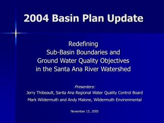 2004 Basin Plan Update