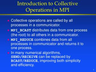 Introduction to Collective Operations in MPI