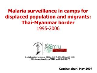 Malaria surveillance in camps for displaced population and migrants: Thai-Myanmar border 1995-2006