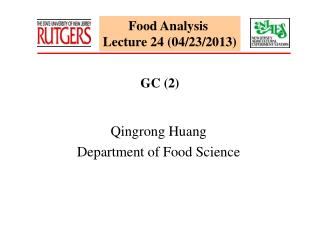 Food Analysis  Lecture 24 (04/23/2013)