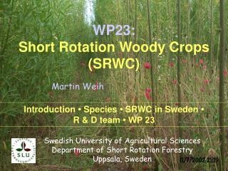 WP23: Short Rotation Woody Crops (SRWC)