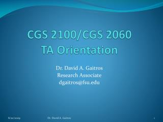 CGS 2100/CGS 2060  TA Orientation