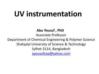 UV instrumentation