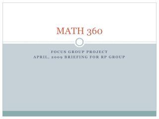 MATH 360