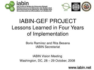 IABIN Vision Meeting Washington, DC, 28 � 29 October, 2008