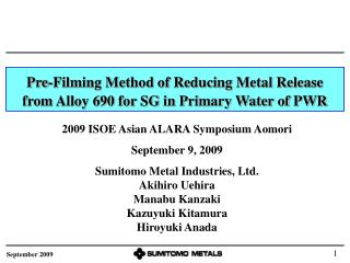 Pre-Filming Method of Reducing Metal Release from Alloy 690 for SG in Primary Water of PWR