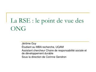 La RSE : le point de vue des ONG