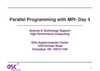 Parallel Programming with MPI- Day 4