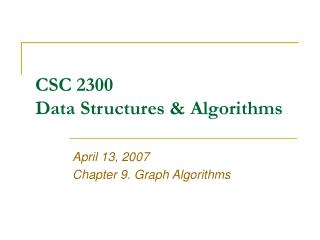 CSC 2300 Data Structures & Algorithms