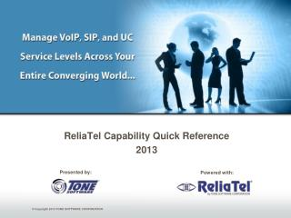 ReliaTel  Capability Quick Reference  2013