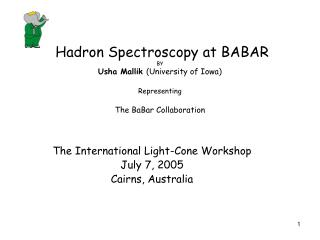 The International Light-Cone Workshop July 7, 2005 Cairns, Australia