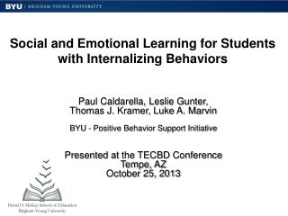 Social and Emotional Learning for Students with Internalizing Behaviors