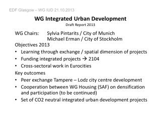 WG Integrated Urban  Development  Draft  Report 2013